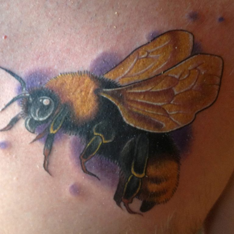 Fuzzy Bumblebee Tattoo by Matt Rousseau
