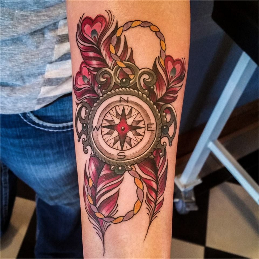 Compass and Feathers Tattoo by Matt Rousseau